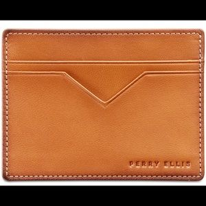 NEW Perry Ellis 5 card slots leather card case